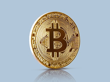 Coin of Bitcoin mining virtual cryptocurrency concept on blue ba